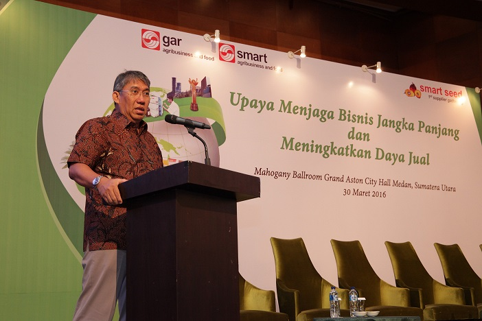 Bayu Krisnamurthi, President Director of Indonesia Estate-Crop Fund for Palm Oil (BPDP Sawit) speaking at the GAR Supplier Workshop in Medan