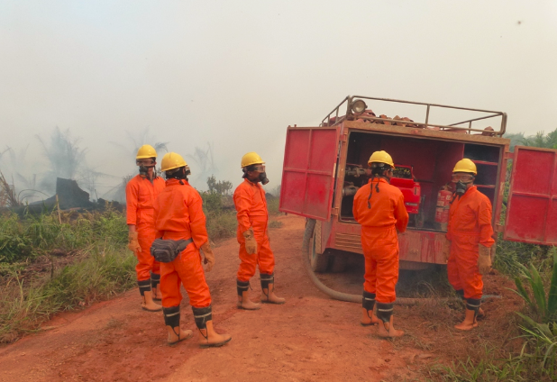 Emergency Response Team members on the job controlling and suppressing fires