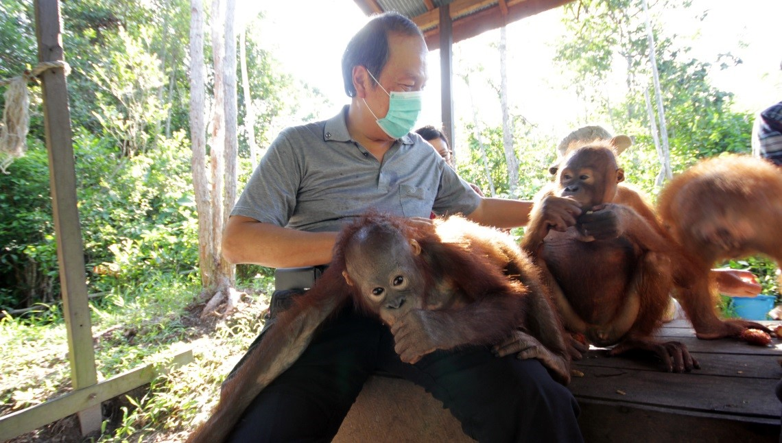 Bapak Daud Dharsono during his visit to Orangutan Care Center established by Orangutan Foundation International