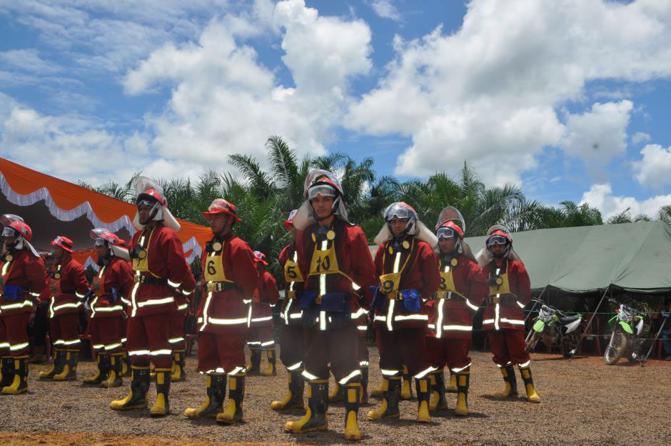 Villagers participating in fire suppression training