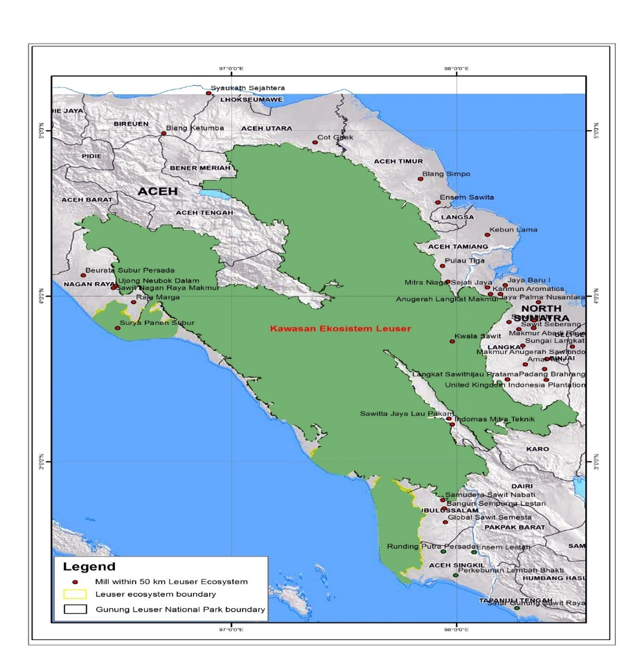 Map of Leuser National Park
