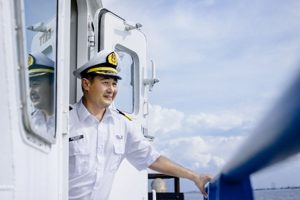 Captain Roni Sutanto on his ship